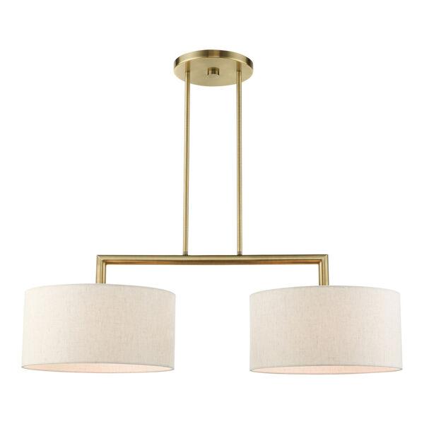 Meridian Antique Brass Two-Light Pendant, image 1