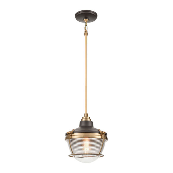 Seaway Passage Oil Rubbed Bronze and Satin Brass One-Light Pendant, image 1