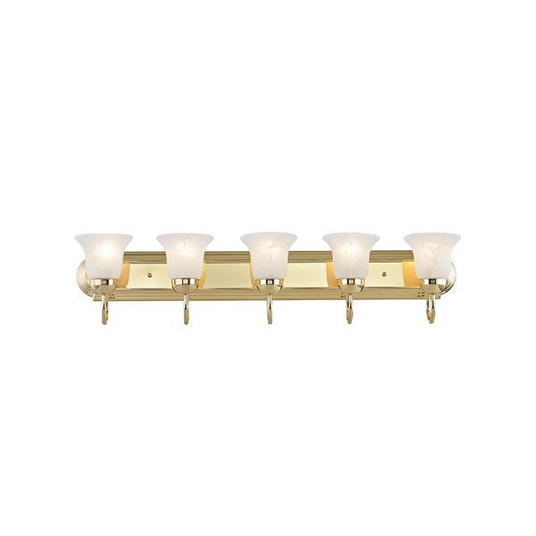 Home Basics Polished Brass Five-Light Bath Light, image 1