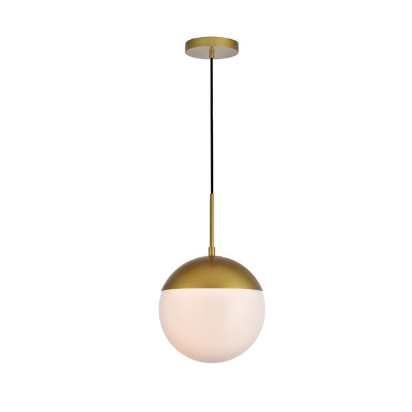 Eclipse Brass and Frosted White 10-Inch One-Light Pendant, image 1