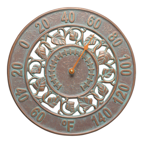Copper Verdigris Ivy Silhouette Thermometer, image 1