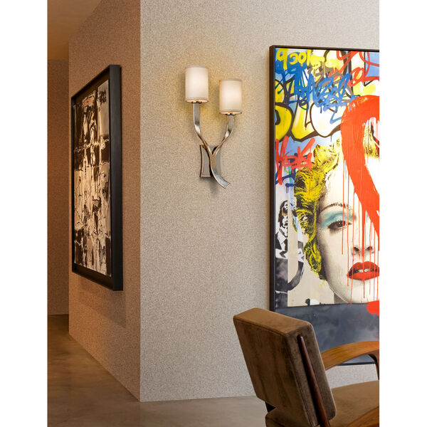 Roxy Modern Silver Leaf with Polished Stainless Accents Right Two-Light Wall Sconce, image 2