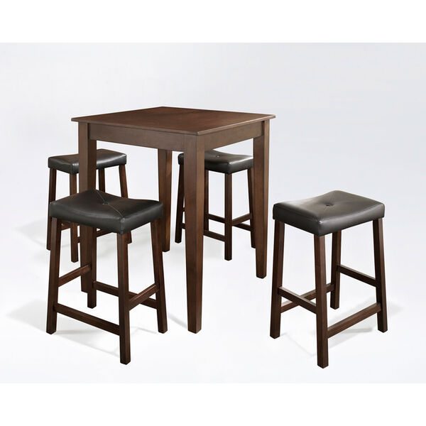 Five Piece Pub Dining Set with Tapered Leg and Upholstered Saddle Stools in Vintage Mahogany Finish, image 1