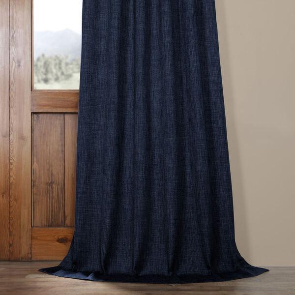 Blue Indigo 108 x 50 In.Faux Linen Blackout Curtain Single Panel, image 5