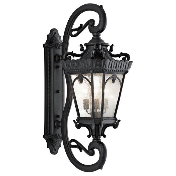 Tournai Four-Light Textured Black Large Outdoor Wall Lantern, image 1