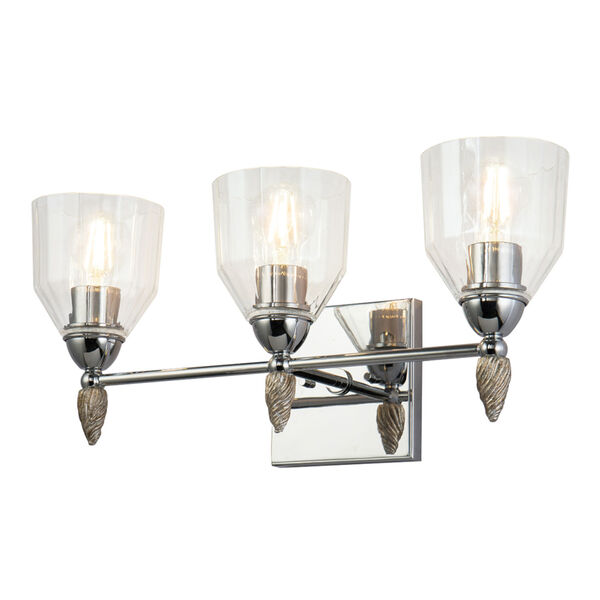 Fun Finial Polished Chrome Silver Three-Light Wall Sconce, image 1