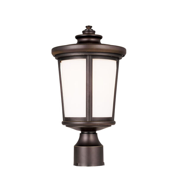 Eddington Antique Bronze One-Light Outdoor Post Mount with Cased Opal Etched Shade, image 2