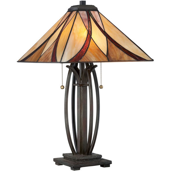 Wellington Bronze Two-Light Table Lamp with Tiffany Glass, image 1