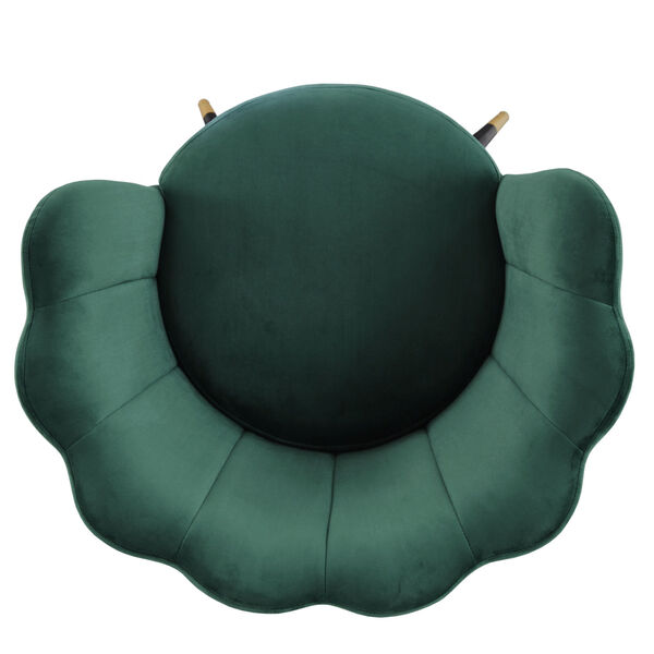 Stella Green Velvet Seashell Armless Chair with Black and Gold Leg, image 6