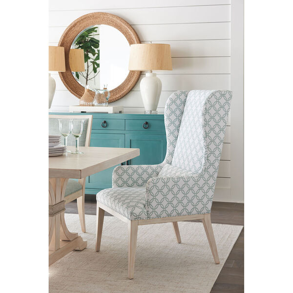 Newport Green and White Seacliff Upholstered Host Wing Chair, image 3