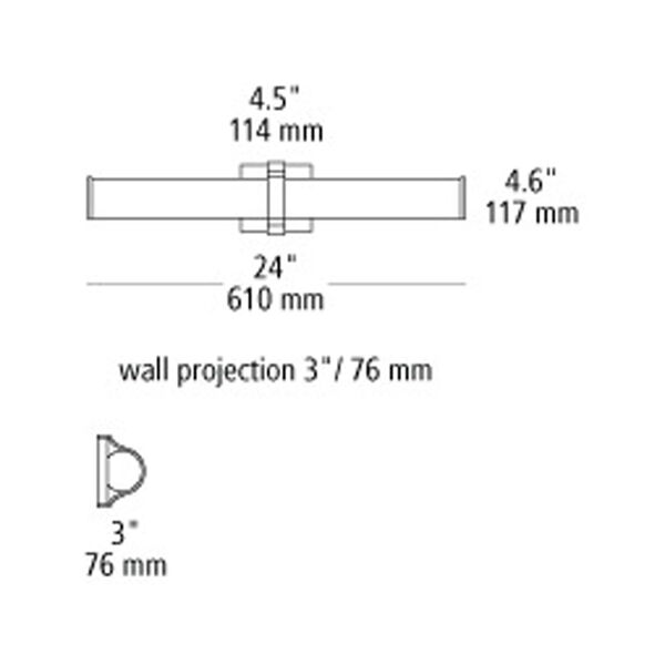 Lynk Polished Chrome LED 24-Inch Bath Bar, image 2