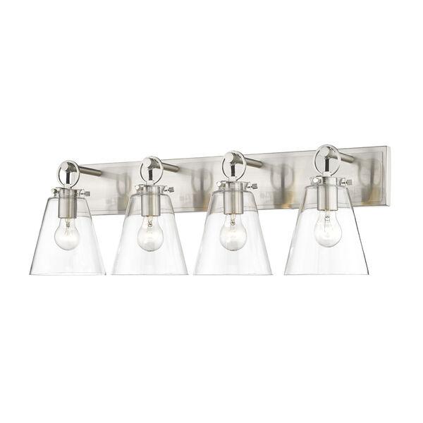 Harper Brushed Nickel Four-Light Bath Vanity, image 1