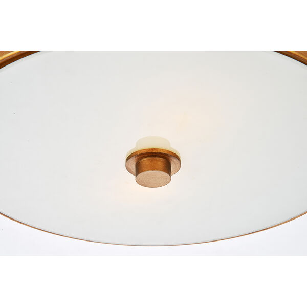Hazen Vintage Gold and Frosted White Two-Light Flush Mount, image 5