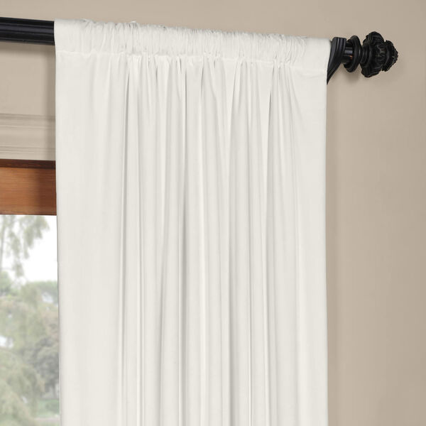 White 108 x 50 In. Plush Velvet Curtain Single Panel, image 3