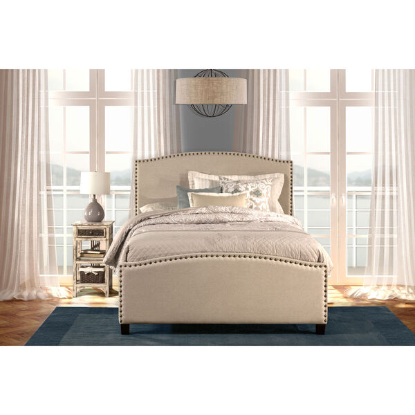 Kerstein Light Taupe Full Complete Bed With Rails, image 1