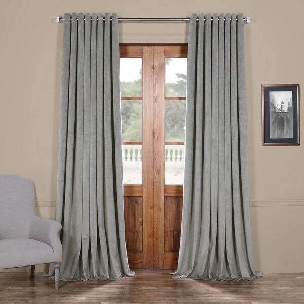 Silver Grey 96 x 100 In. Double Wide Grommet Blackout Velvet Curtain Single Panel, image 1
