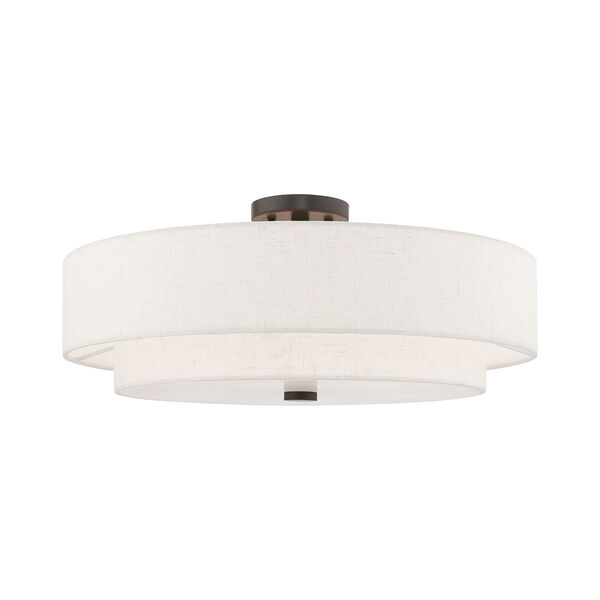 Meridian English Bronze 22-Inch Five-Light Ceiling Mount with Hand Crafted Oatmeal Hardback Shade, image 1