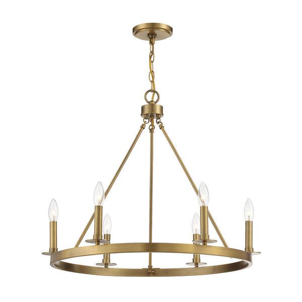 Linden Natural Brass Six-Light Chandelier, image 3