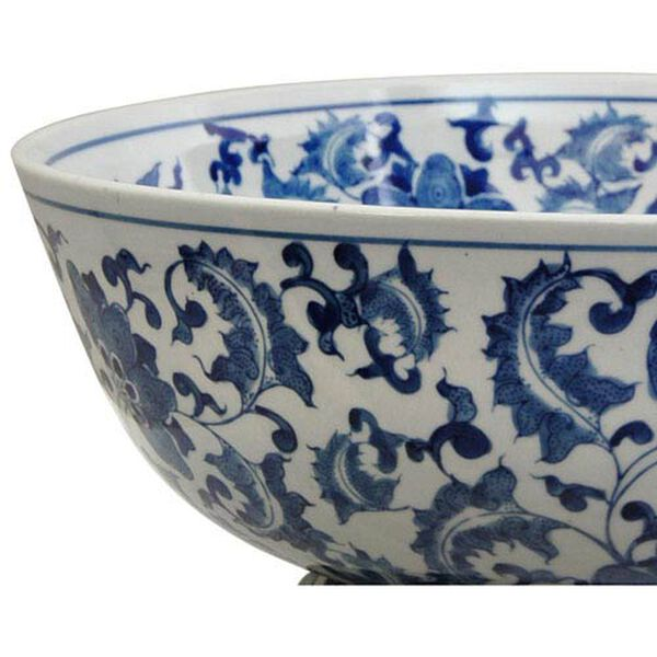 14 Inch Porcelain Bowl Blue and White Floral, Width - 14 Inches, image 2