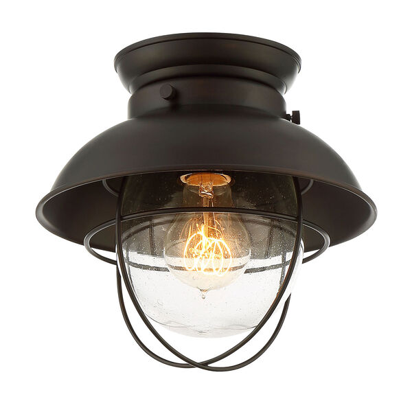 River Station Rubbed Bronze One-Light Industrial Lantern Flush Mount, image 3