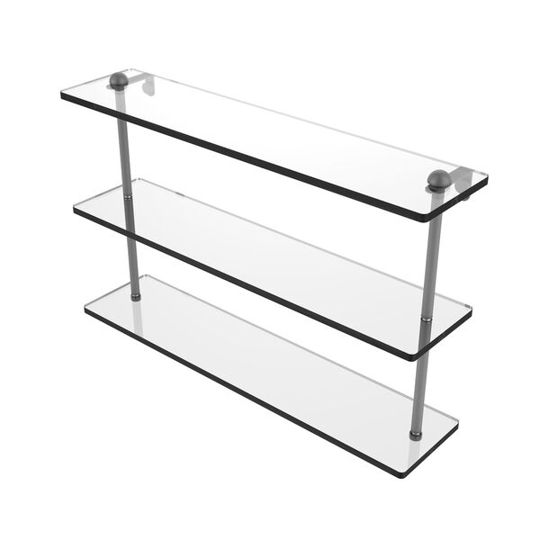 Matte Gray 22-Inch Triple Tiered Glass Shelf, image 1