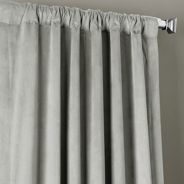 Signature Silver Grey Blackout Velvet Pole Pocket Single Panel Curtain, 50 X 108, image 5