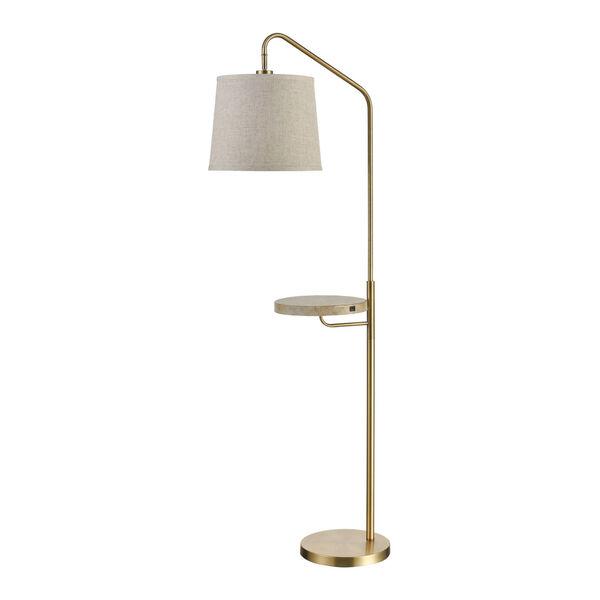 Regina Antique Brass and Coastal Bleached Wood 22-Inch Floor Lamp, image 2