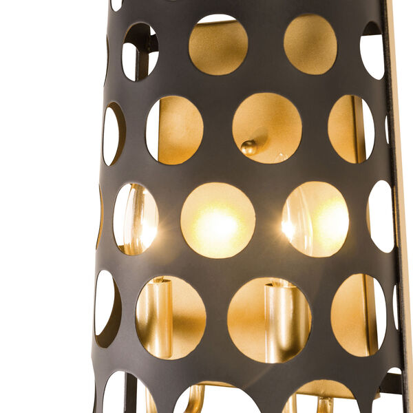 Bailey Matte Black French Gold Two-Light Wall Sconce, image 4