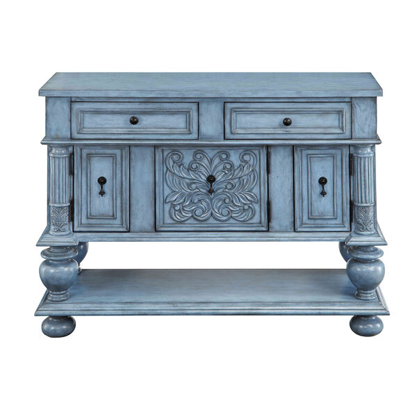 Blue Two Drawer Sideboard, image 3