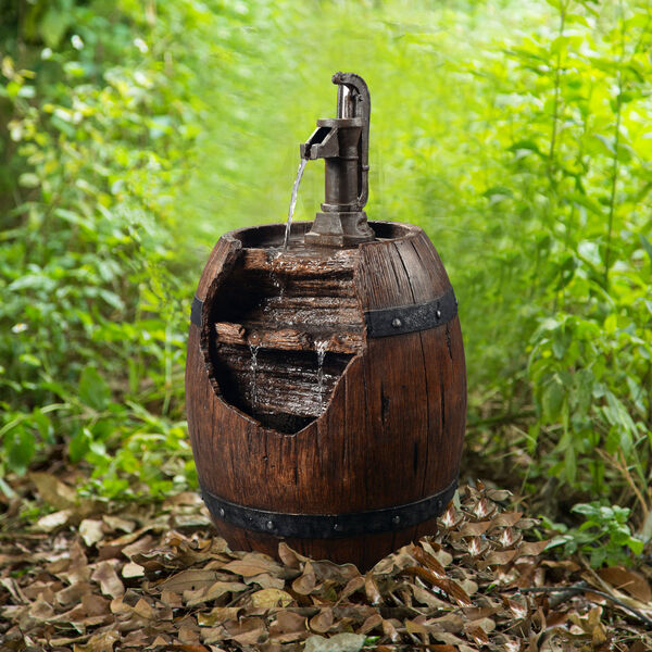 Dark Wood Outdoor Vintage Pump and Barrel Waterfall Fountain, image 4