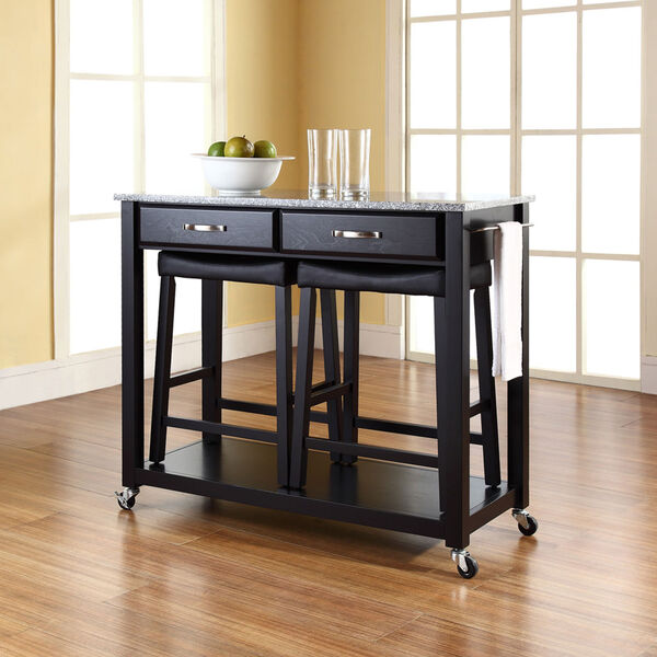 Solid Granite Top Kitchen Cart/Island in Black Finish With 24-Inch Black Upholstered Saddle Stools, image 4
