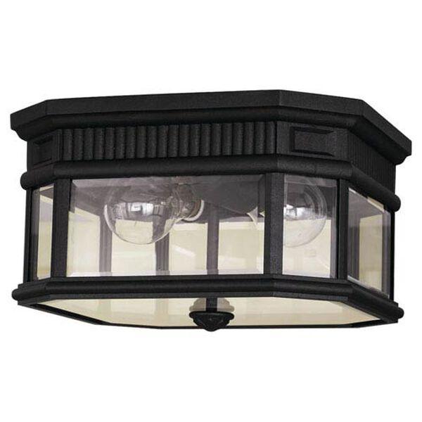 Castle Black Outdoor Two-Light Ceiling Fixture, image 1