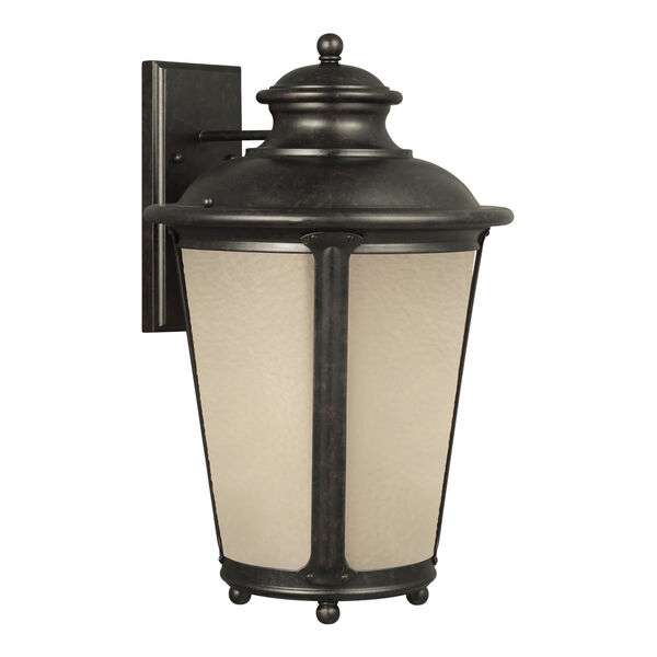 Cape May Burled Iron One-Light Outdoor Wall Sconce with Etched Hammered with Light Amber Shade, image 2