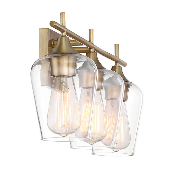 Octav Warm Brass 21-Inch Three-Light Bath Vanity, image 3