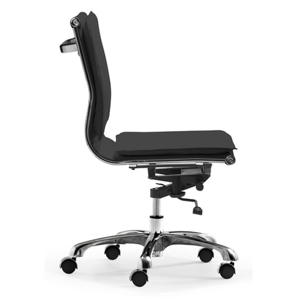 Lider Plus Black and Chromed Steel Armless Office Chair, image 2