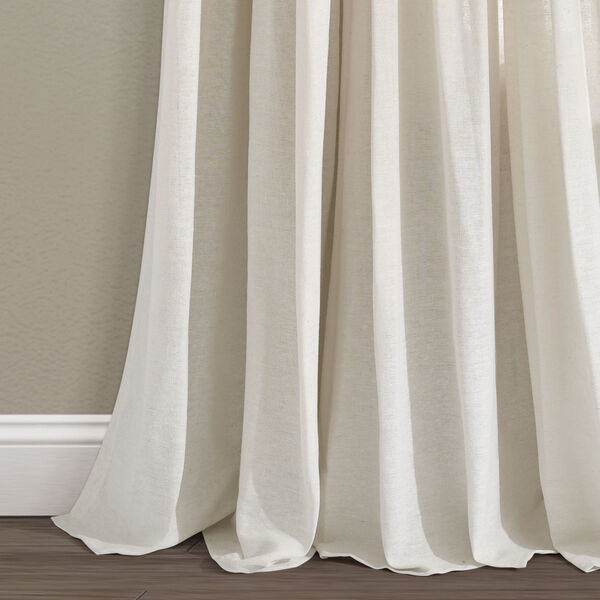 Linen Button Off White 40 x 95 In. Single Window Curtain Panel, image 4