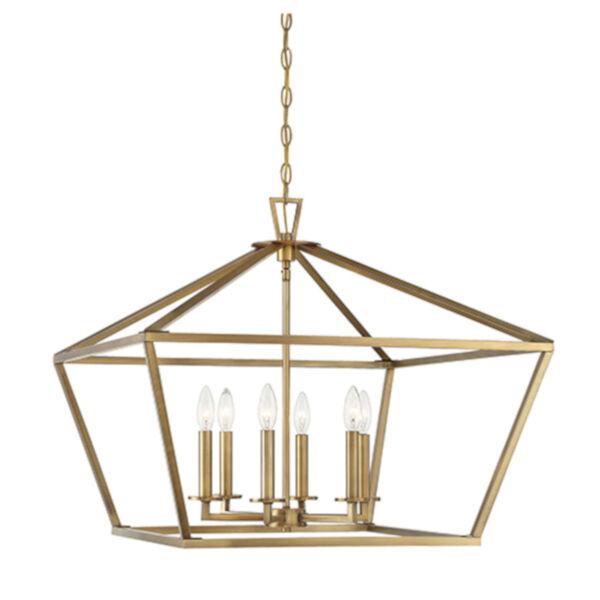Kenwood Warm Brass Six-Light Lantern Pendant, image 1