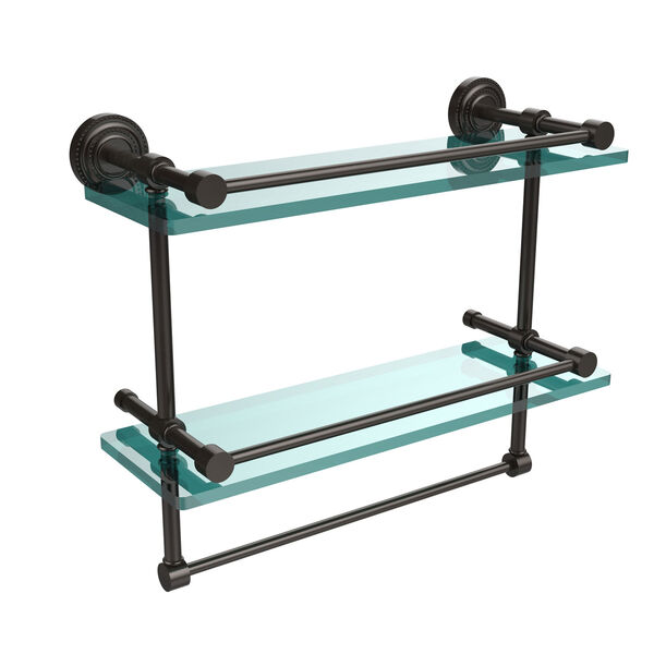 Dottingham 16 Inch Gallery Double Glass Shelf with Towel Bar, Oil Rubbed Bronze, image 1