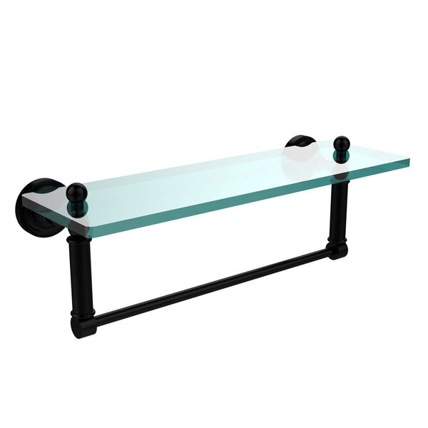 Dottingham Matte Black 16x5 Glass Shelf w/ Towel Bar, image 1
