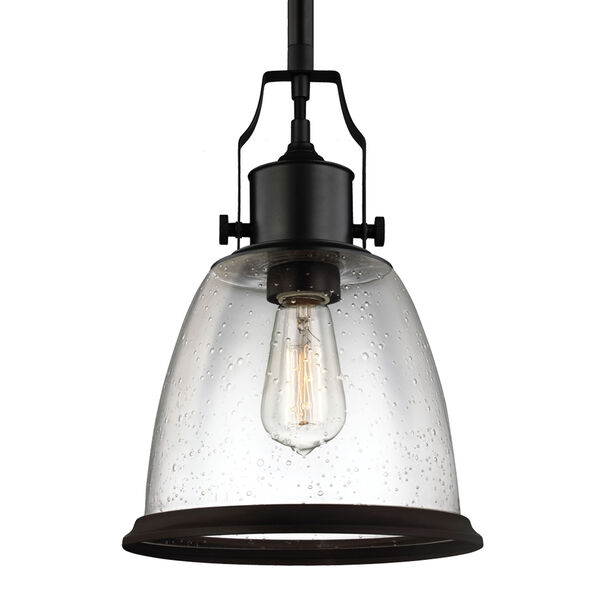 Hobson Oil Rubbed Bronze One-Light 10-Inch Wide Mini Pendant with Clear Seeded Glass, image 1