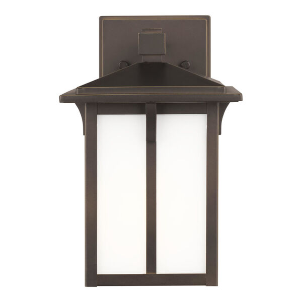 Tomek Antique Bronze One-Light Outdoor Small Wall Sconce with Etched White Shade, image 1