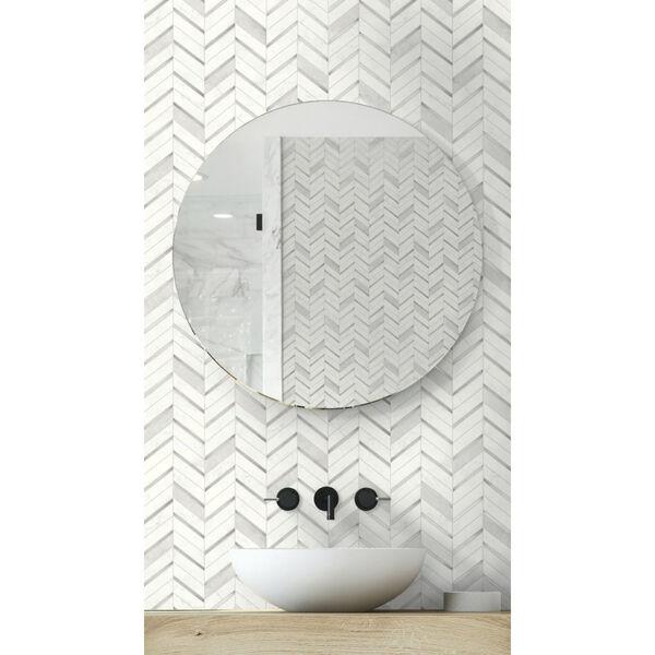 NextWall Gray Chevron Marble Tile Peel and Stick Wallpaper, image 3