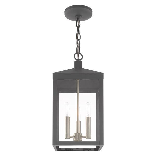 Nyack Scandinavian Gray Eight-Inch Three-Light Pendant Lantern, image 6