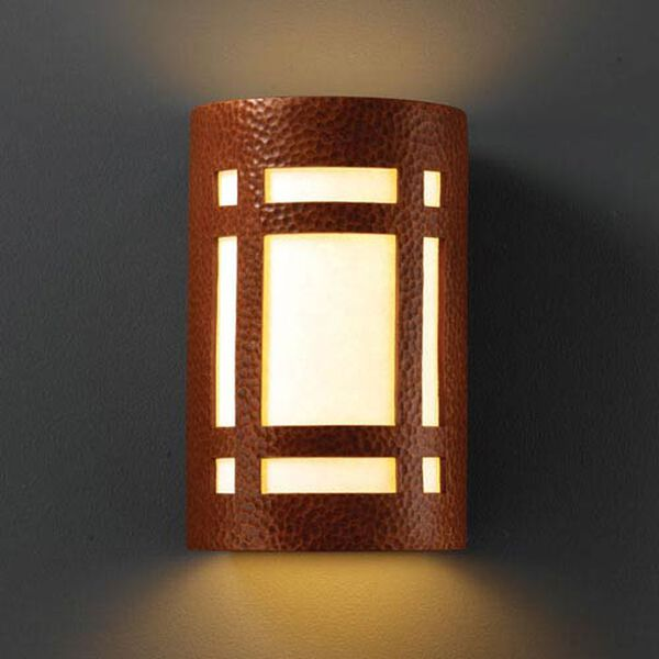 Ambiance Hammered Copper Large Craftsman Window Outdoor Wall Sconce, image 1