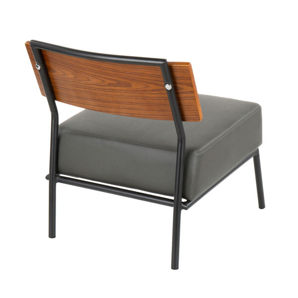 Fiji Black, Walnut Wood and Gray Armless Accent Chair, image 3