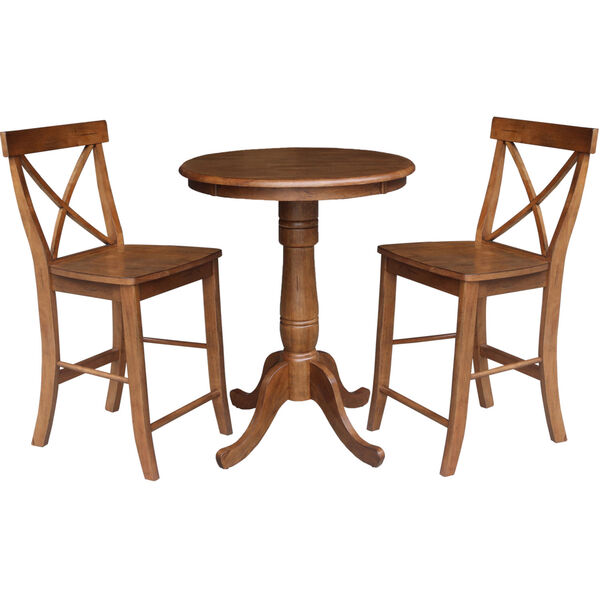 Distressed Oak 30-Inch Round Top Pedestal Gathering Table with Two X-Back Counter Height Stool, Set of Three, image 2