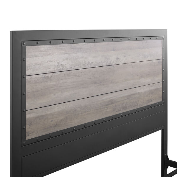 Queen Size Industrial Wood and Metal Bed - Grey Wash, image 4