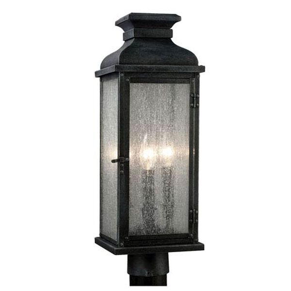 Wright Dark Weathered Zinc Two-Light Outdoor Post Mount, image 1