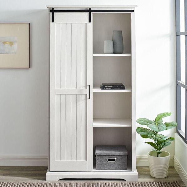 Barn Door Brushed White Storage Cabinet, image 2