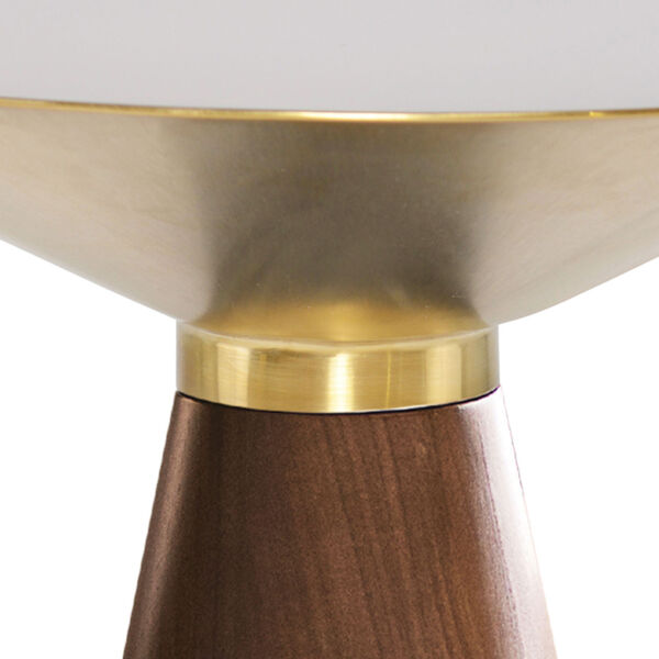 Iris Gold and Walnut Round Side Table, image 2